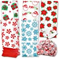 150 Christmas Cellophane Treat Bags with twist ties Holiday Goodie Bags for Candy by Gift Boutique