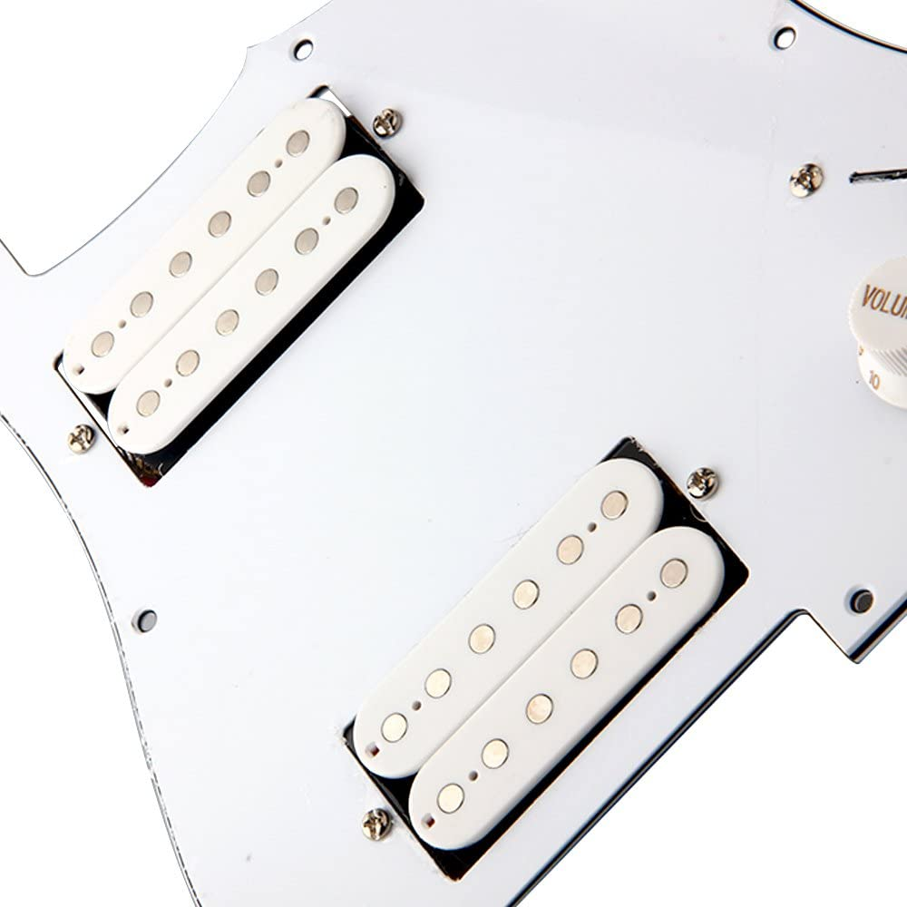 White Loaded Electric Guitar Pickguard Scratchplat With 2 Humbucker Pickups For Strat Replacement
