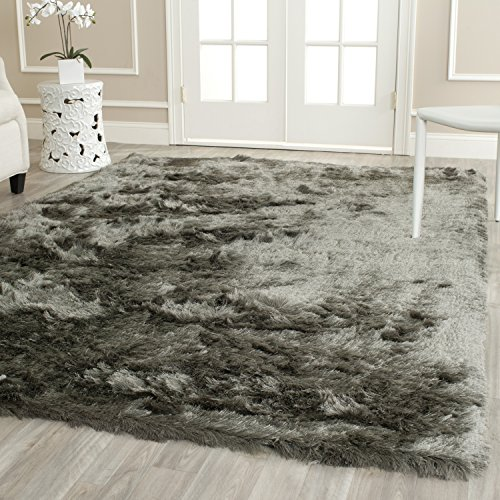 (Safavieh Paris Shag Collection SG511-8383 Titanium Polyester Area Rug (8' x)