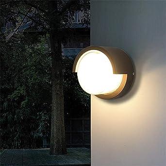 YAOUEWL Luz De Pared Led Moderna Iluminación Exterior Luz De Pared Led Luz De Porche Impermeable Luz De Pared De Jardín Jardín Parque Blanco Cálido_Redondo: Amazon.es: Iluminación