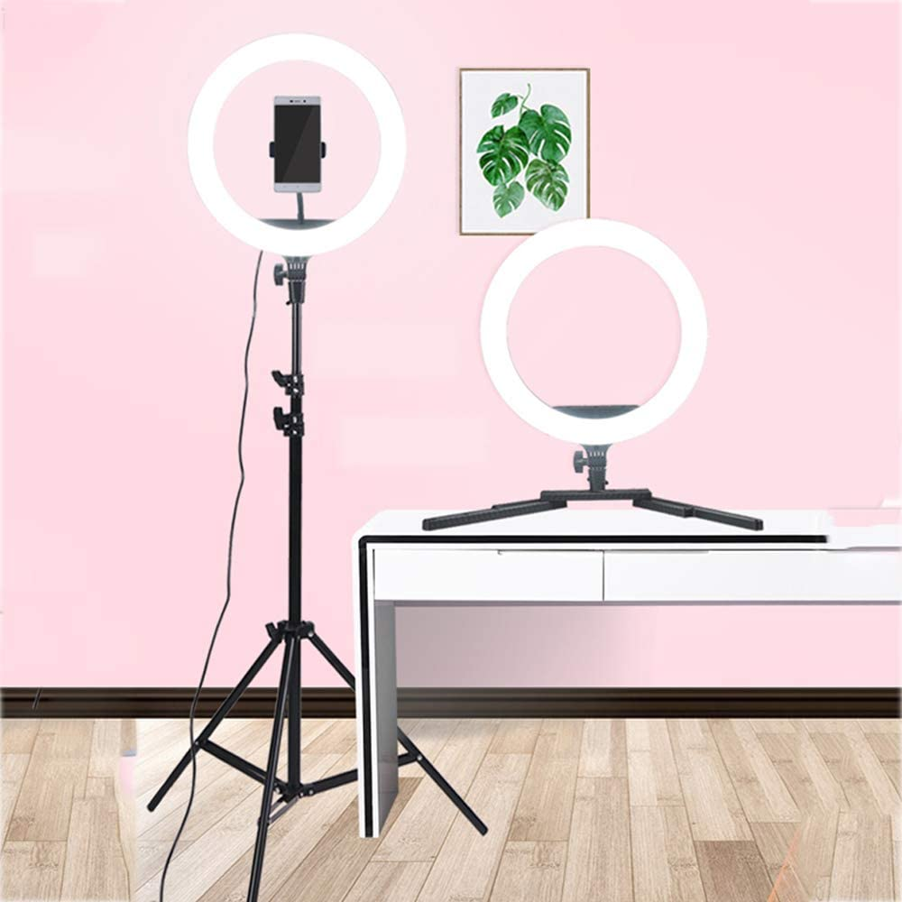 ZTCWS Dual-Purpose Selfie Ring Light with Tripod and Mobile Phone Holder for Live//Makeup Mini Camera Ring Light for Video//Photography Smartphones
