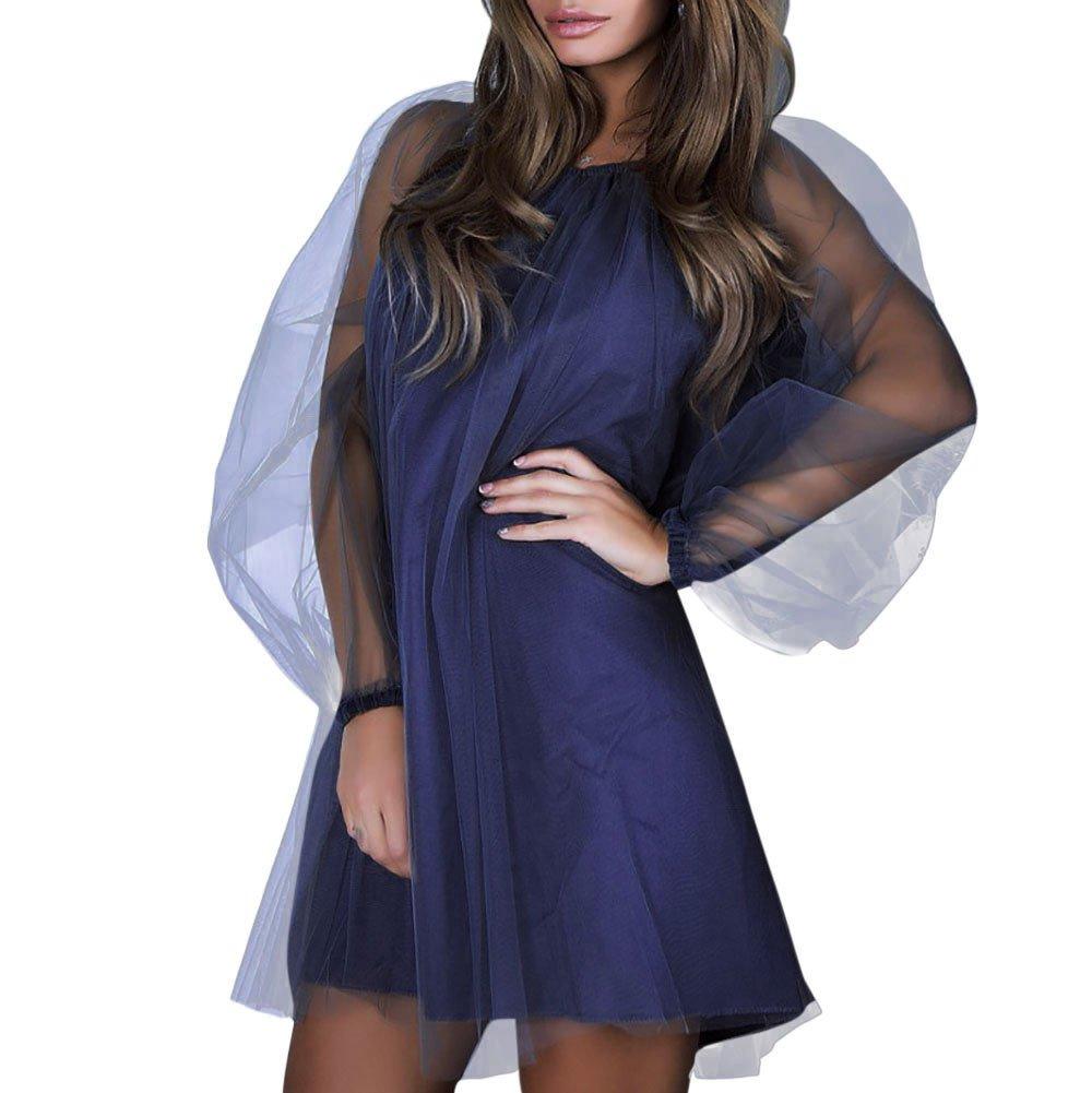 Overmal Womens Long Sleeve Net Yarn Round Collar Dress