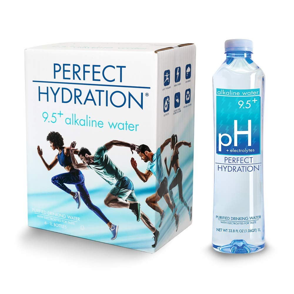 Perfect Hydration Alkaline Water, 9.5+ pH | 33.8 Fl. Oz (Pack of 6) | Ultra Purified, Electrolyte Enhanced Drinking Water, 33.8 Fl. Oz. by Perfect Hydration