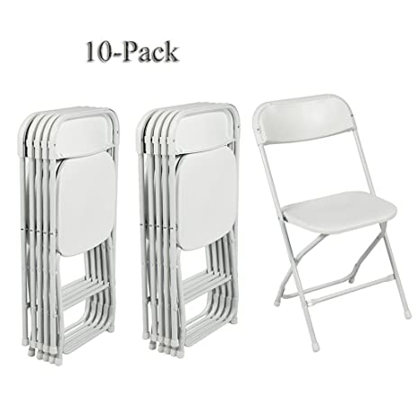 FCH 10 Pack Folding Chairs White Stackable Wedding Party Event Chair With  Plastic Seat And