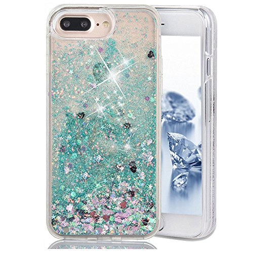 SUPVIN Bling Glitter Sparkle Shiny Liquid Phone Case for Girls Women Floating Bumper Cute Case with Rhinestone Diamond [TPU+PC] Compatible for iPhone 7 Plus/iPhone 8 Plus(Green)