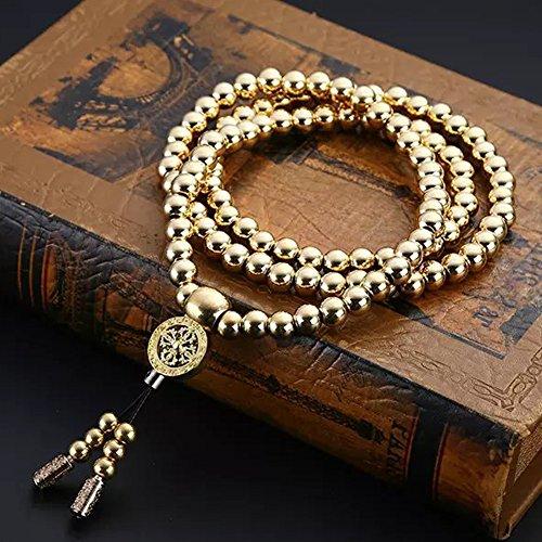 Mens Full Brass Chain Bracelets 108 Buddhist Strand Prayer Beads Sandalwood Link Wrist (Buddha Jewellery)