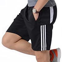 QRANSS Mens Shorts Football Running Gym Active Sports Trunks with Zipper Pockets