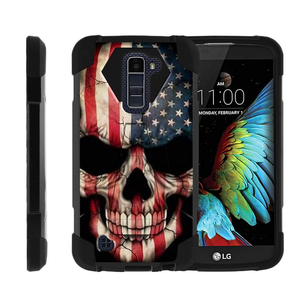 TurtleArmor | Compatible with LG K10 Case | LG Premier Case [Dynamic Shell] Hybrid Dual Layer Hard Shell Kickstand Silicone Case - US Flag Skull