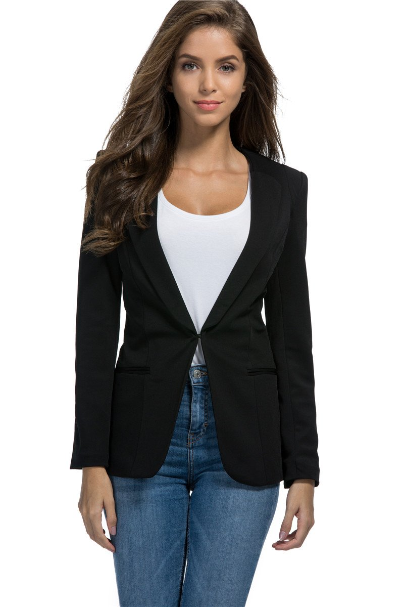 My Wonderful World Women's Womens Casual Basic Work Office Cardigan Tuxedo Blazer Boyfriend Jacket Open Front Black US 2 (Tag Asian m)