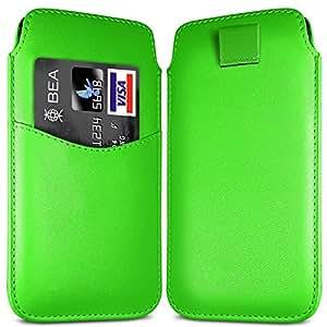 N4U Online - iPhone 5 Ranura para tarjeta superior de la PU del tirón del cuero de la caja ficha de extracción de caso - Verde