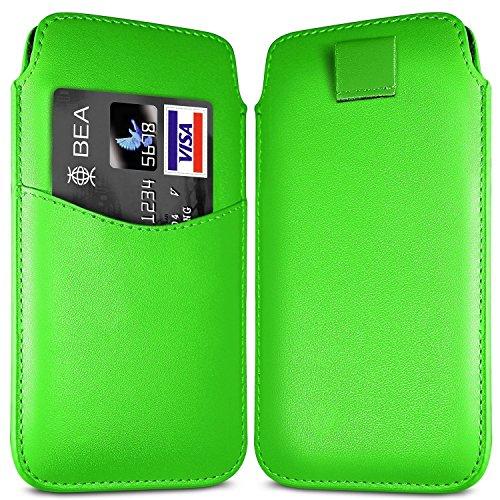 N4U Online - Apple Iphone 5C Fente pour carte prime PU Pull en cuir flip Tab Housse Etui - Vert