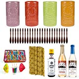 Tiki Drink Accessories Starter Kit - Includes Ceramic Mugs, Cocktail Ingredients & Supplies