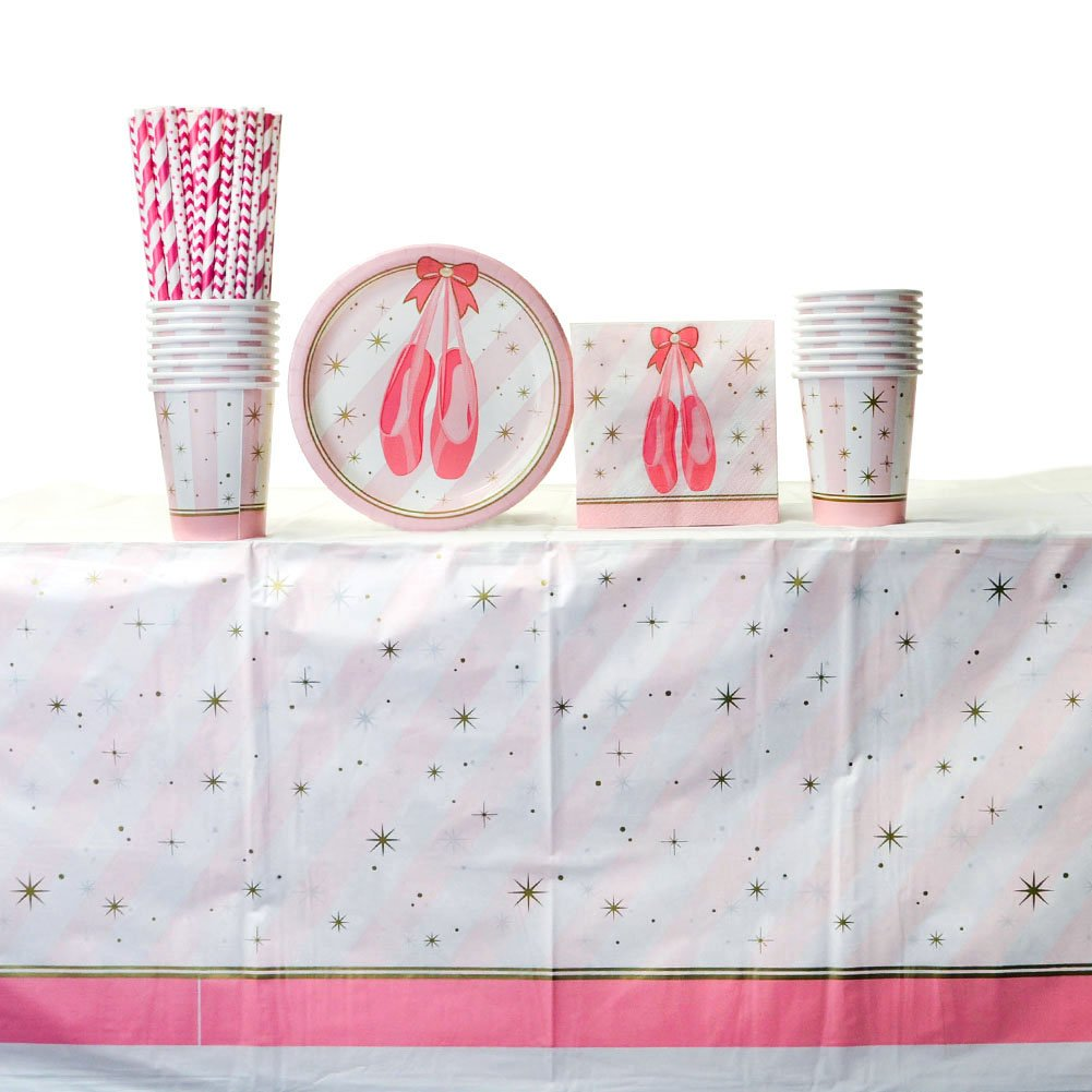Twinkle Toes Party Supply Pack for 16 Guests: Straws, Dessert Plates, Beverage Napkins, Cups, and Tablecover