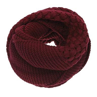 ca53c3fa3ec8 Écharpe Tube Femme Dame Foulard Tricoté Crochet Thermique Tour de Cou Hiver  Automne avec Petits Carreaux