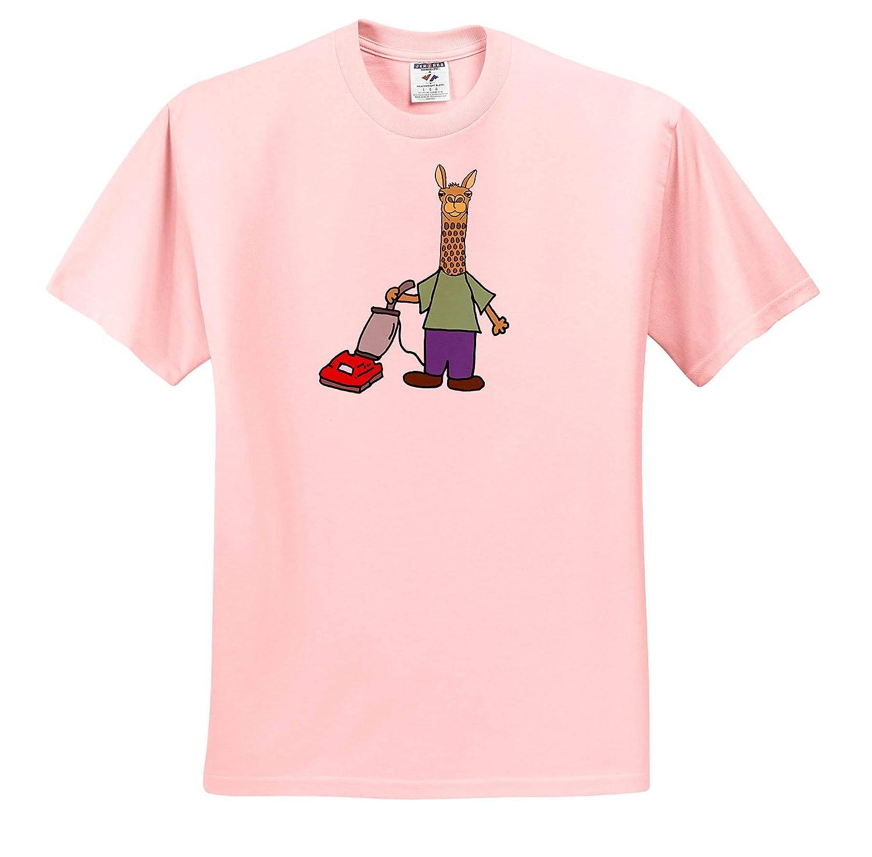 ts/_313453 Adult T-Shirt XL Funny Funny Cute Llama Vacuuming Cartoon 3dRose All Smiles Art