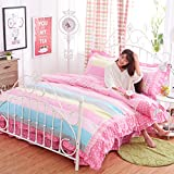 4pcs Princess Style Lycra Cotton Lace Bedding Sheet Set Duvet Cover Pillow Cases Twin Full Queen Size (Twin, Pink Rainbow)