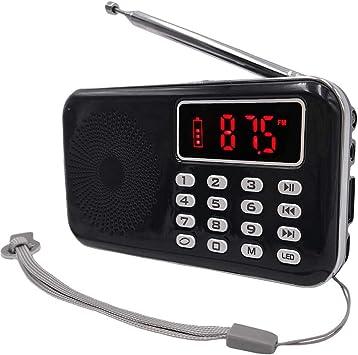 Totento Mini Radio FM/Am Portatil Pequeña Digital Bolsillo con Altavoz Soportes USB Flash Drive/Tarjeta TF MP3 Music Player, Batería Recargable, Linternas Led, Toma de Auriculares (Negro): Amazon.es: Electrónica