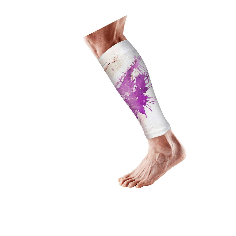Smilelolly Purple Ballet Dancer Calf Compression Sleeves Helps Calf Guard Leg Sleeves for Men Women