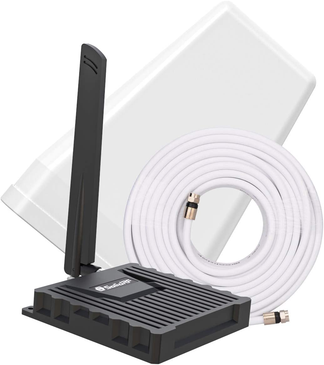 SolidRF Cell Phone Signal Booster for Home or Office | Up to 2,000 Sq Ft | AT&T, Verizon, Sprint, T-Mobile, 3G, 4G LTE | Supports Band 2/5/12/17/25 | FCC Approved