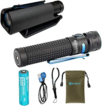 2000 Lumens Olight Baton Pro Black Rechargeable Flashlight