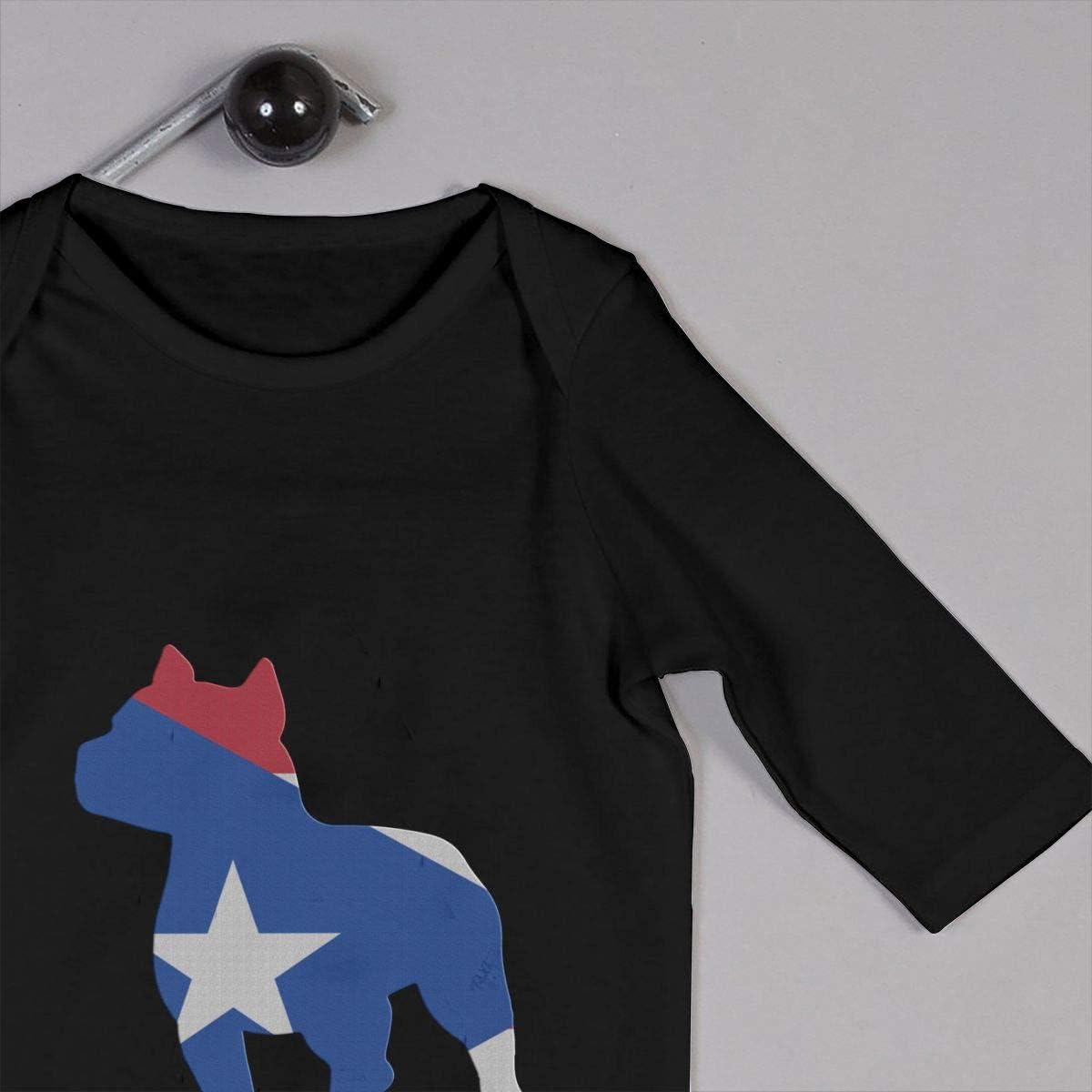 Patriotic Pitbull Puerto Rico Flag Printed Baby Boys Girls One-Piece Suit Long Sleeve Romper Black