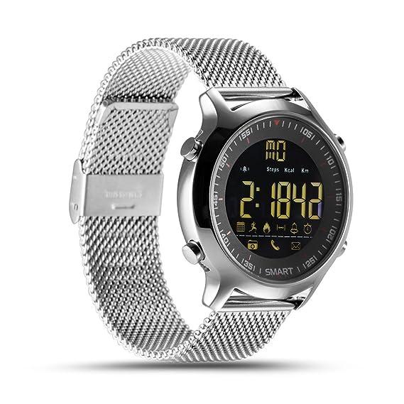 Relojes Inteligentes Reloj de Pulsera con Bluetooth Rastreador de Actividad Cronómetro Alarma Smartwatch para Hombre Mujer, Niño y Niña (Plateado): ...