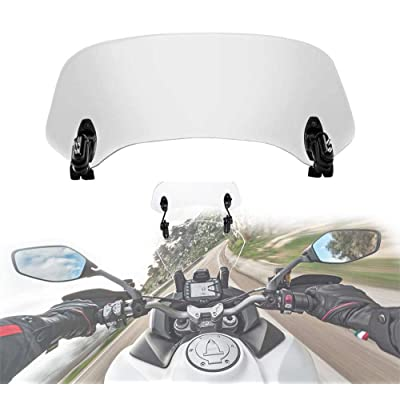 Motorcycle Adjustable Windscreen Extension Universal Clip on Windshield Spoiler Compatible with Honda Kawasaki Suzuki Yamaha Windscreen: Automotive