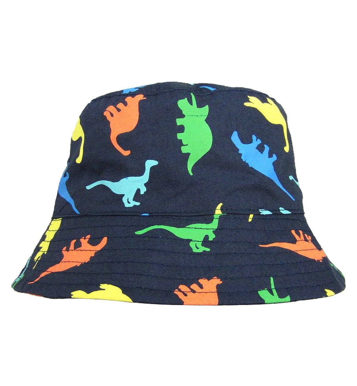 Sumolux Cappello Sole da Bambino Stampa Dinosauri Multicolori Capellino di Benna Blu Scuro per Bambini Neonati
