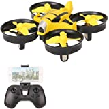 VOLTZ RC UFO Quadcopter Mini Drone with HD Camera, 2.4GHz 4 Channel 6 Axis Gyro with Altitude Hold and WIFI FPV- BONUS BATTERY INCLUDED (Yellow)