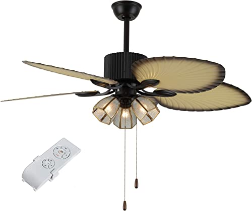 Palm Ceiling Fan Lights 3 Speed Remote Premium Light Fixtures 3 Glass Lampshades 5 Hand-Carved Palm Leaf Blade