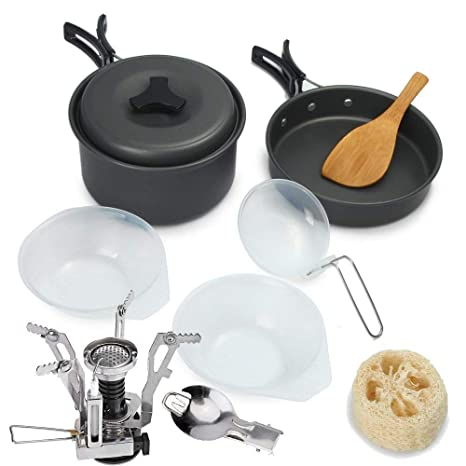 Camping & Hiking 9pcs Outdoor Camping Cookware Cooking Picnic Bowl Pot Pan Set Portable US