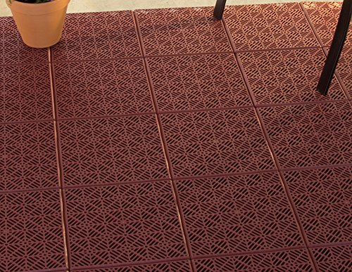 Pure Garden Interlocking Patio, Deck Or Garage Floor Tiles - 12 X 12