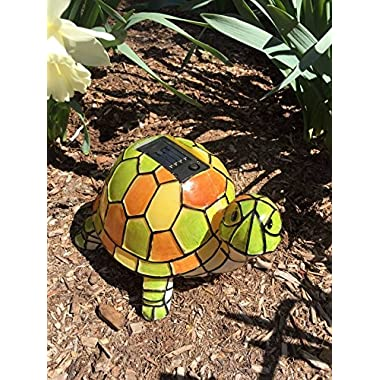 Solar Tiffany Turtle Statue LED Light , Hand-painted Garden Outdoor Yard Decor Landscape Statue Lamp Lighs , Night Light , Table Light
