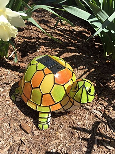 Florals Solar Tiffany Turtle Statue LED Light, Hand-Painted Garden Outdoor Yard Decor Landscape Statue Lamp Lighs, Night Light, Table Light