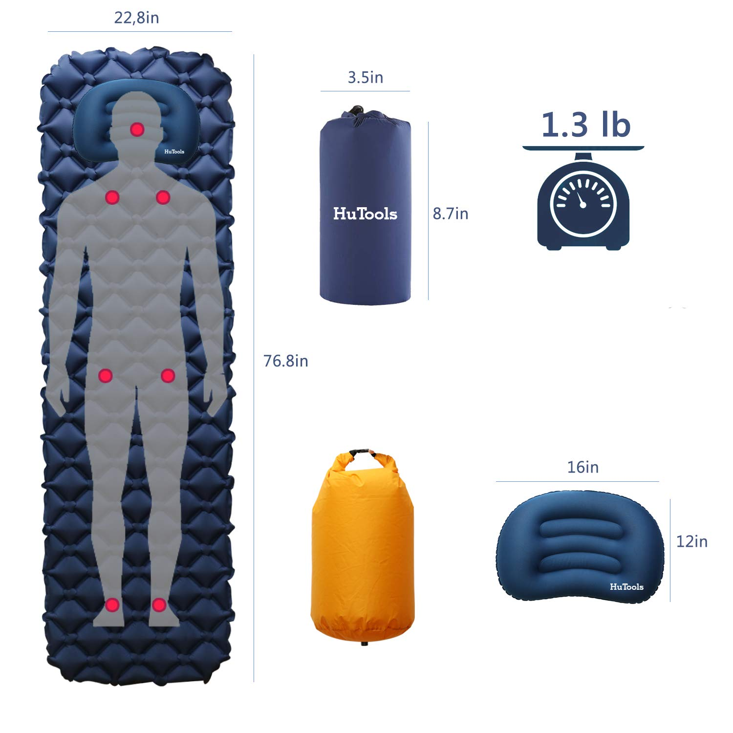 HuTools Sleeping Pad for Camping with Pillow Inflatable Sleeping Pad for Backpacking Inflatable Camping Mattress for Sleeping Bag Pad Camping Pad for Travel Hiking Pump Sacks Included