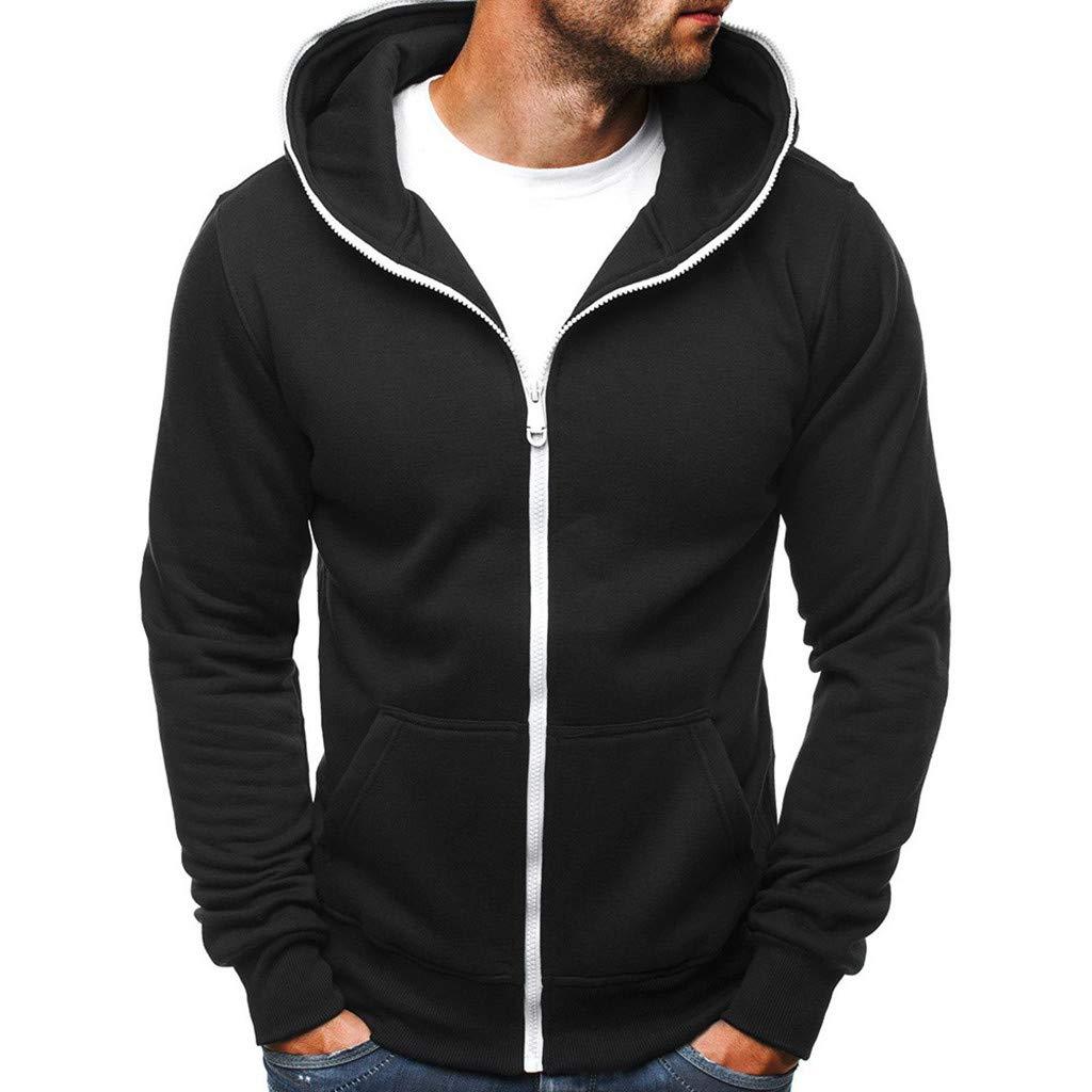 Mäntel Herren,SANFASHION Männer Casual Slim Fit Zipper Coat Hoodie mit Tasche Outwear Sweatshirt