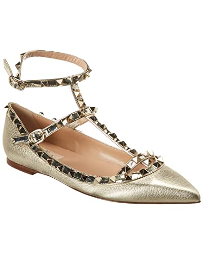 ad1453774978 Image Unavailable. Image not available for. Color  VALENTINO Cage Rockstud  Leather Ballerina Flat ...