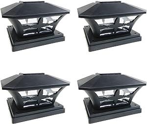 iGlow 4 Pack Black Outdoor Garden 6 x 6 Solar SMD LED Post Deck Cap Square Fence Light Landscape Lamp PVC Vinyl Wood