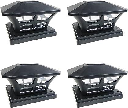 Outdoor Garden Black Solar LED Post Deck Cap Square Fence Light Landscape Lamp