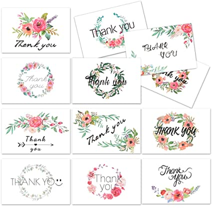 amazon com d fantix 4x6 floral thank you cards 12 design thank