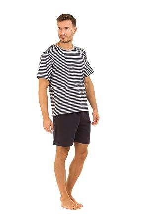 Haigman Mens Navy Shorts   Striped T-Shirt Pyjama Set L XL  Amazon ... 8e65a3cea