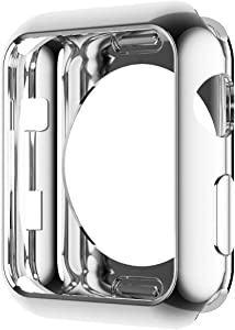 Hankn Compatible with Apple Watch Case Series 6 5 4 SE 44mm 40mm /Series 3 2 1 38mm 42mm, Soft TPU Plated Cover Scratch-Proof Protective Iwatch Bumper [No Front Screen Protector] (Silver, 44mm)
