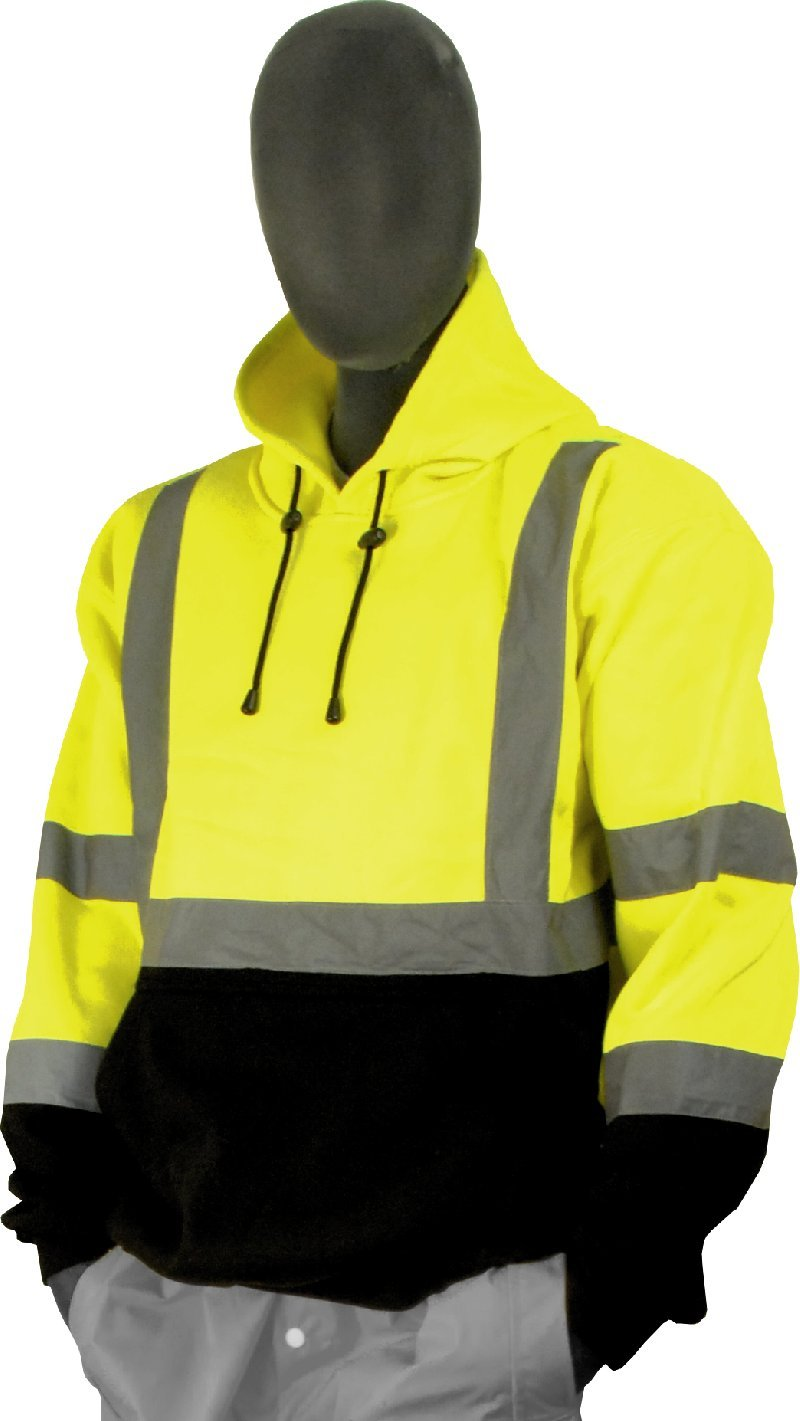 Majestic Glove 75-5327 High Visibility Sweatshirt with Pullover Hood, X-Large, Yellow/Black