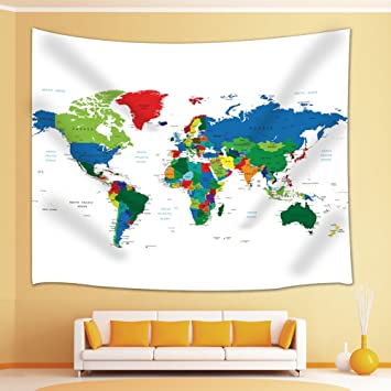 Amazon world map with name of the country tapestry wall world map with name of the country tapestry wall hanging for bedroom living room dorm 71 gumiabroncs Images