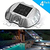 SOLMORE 4 Pack Solar Deck Lights LED Solar Lights Dock Path Step Road Light Waterproof Security Warning Driveway Lights for Outdoor Fence Patio Yard Home Pathway Stairs Garden (Blue)
