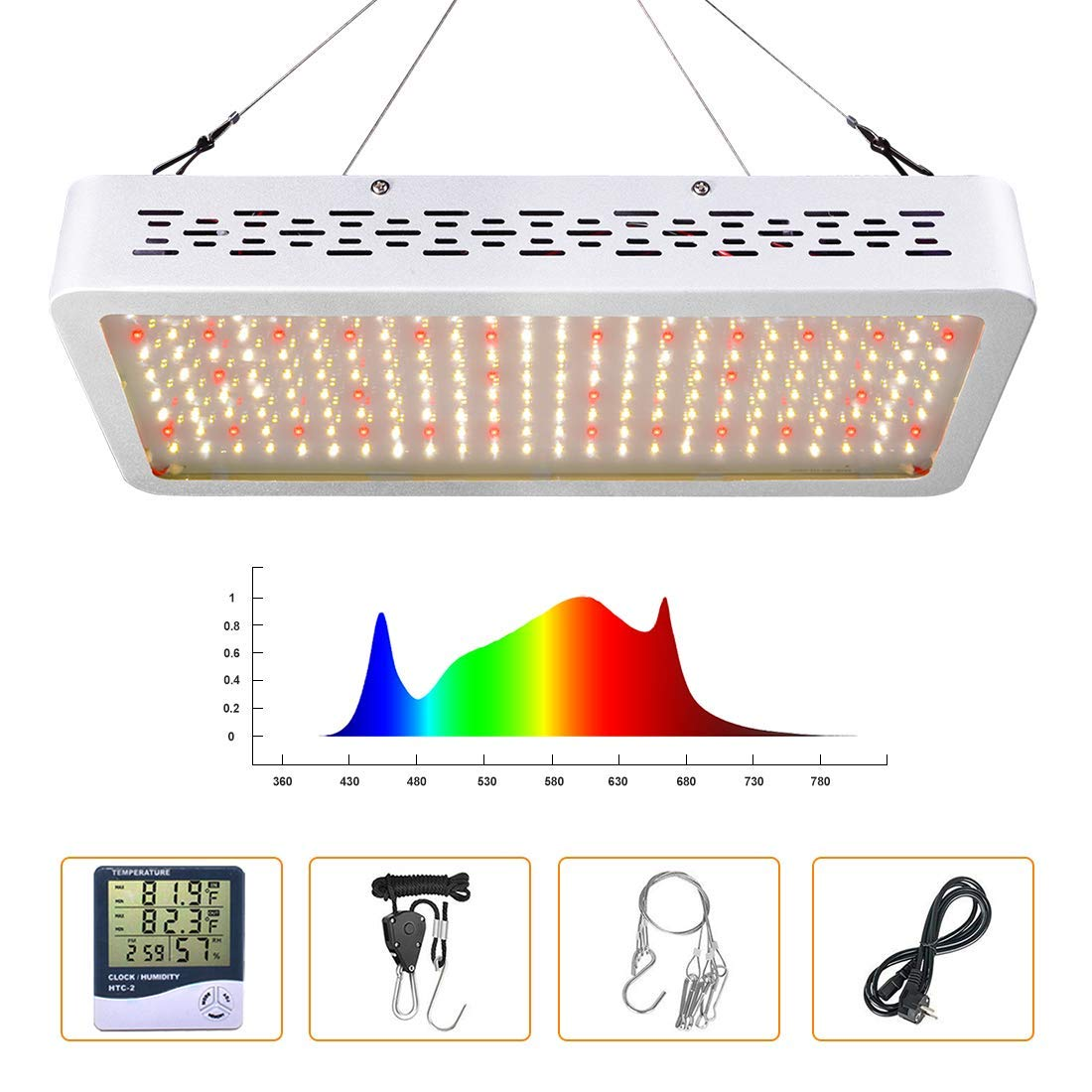 ONEO Led Grow Light 1000W Full Spectrum Sunlight 3500K White and 660nm Red Added Grow Lights for Indoor Plants, Better for Full Growth Flowering Fruiting Veg Seedling with Thermometer Hygrometer by ONEO (Image #2)