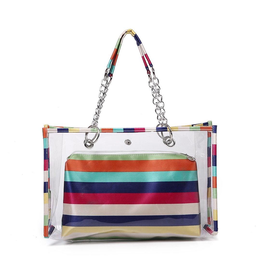 Fancy Love Large Capacity Clear Shoulder Bag Transparent Handbags PVC Beach Package Tote Bags Women