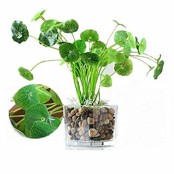 Yocome 4pcs Künstliche Sträucher Lotus Grün Blätter Pflanzen Blumen  Blumenstrauß Fake Aquarium Gras Dekor Für Braut