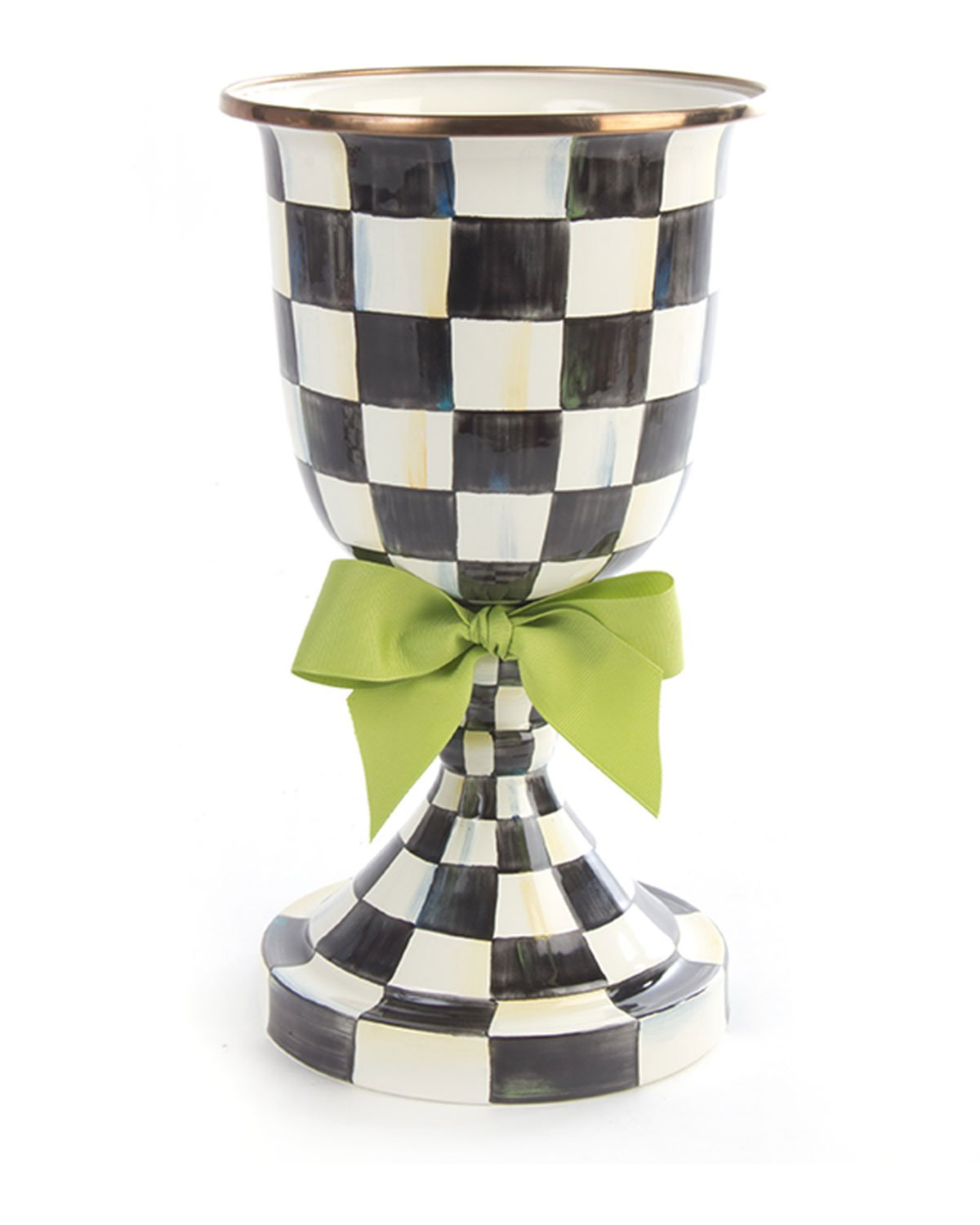 Courtly Check Pedestal Vase with Green Bow, BLACK/WHITE