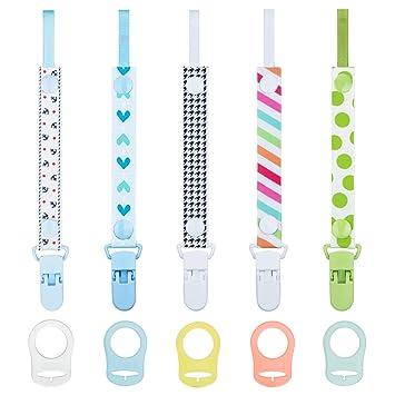 HBselect 10 PCS Schnullerband Schnullerkette Clip mit Baby Silikonring Adapter f/ür Schnullerketten f/ür Baby Junge M/ädchen